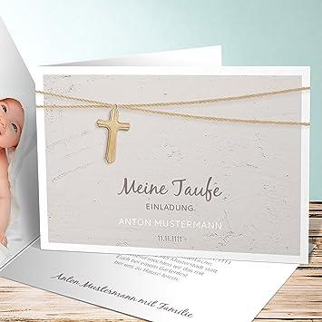 Einladung Zur Taufe Selber Machen, Holzkreuz 5 Karten, Horizontale  Klappkarte 148x105 Inkl. Weiße