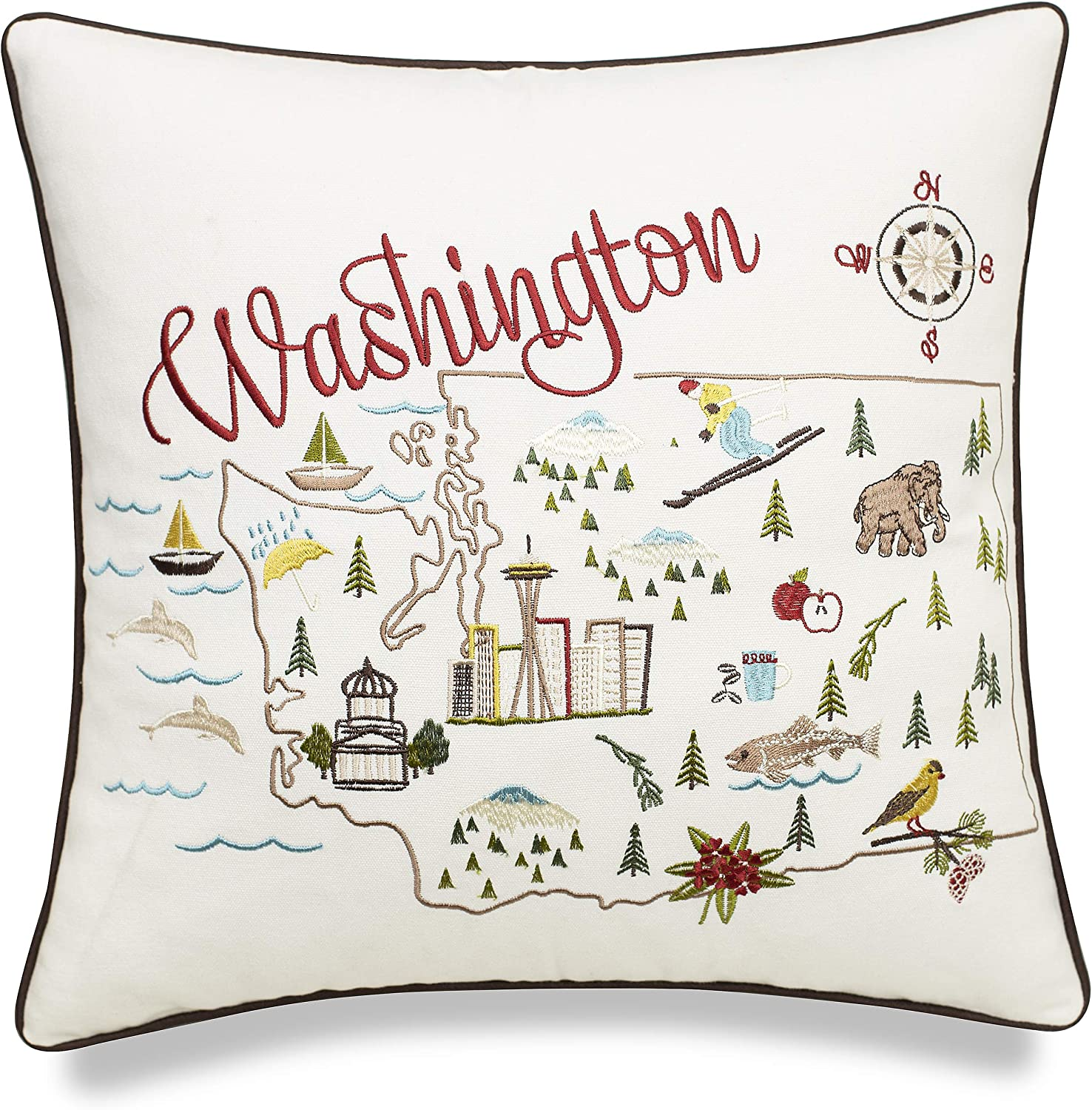 EURASIA DECOR Washington State Map 18x18 Embroidered Decorative Accent Pillow Cover - Birthday Decor, Graduation, New Home Gift