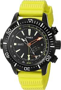 ساعة تايمكس للرجال T2N958 ة سلسلة المغامرات كوارتز مقياس العمق الأصفر من الراتنج