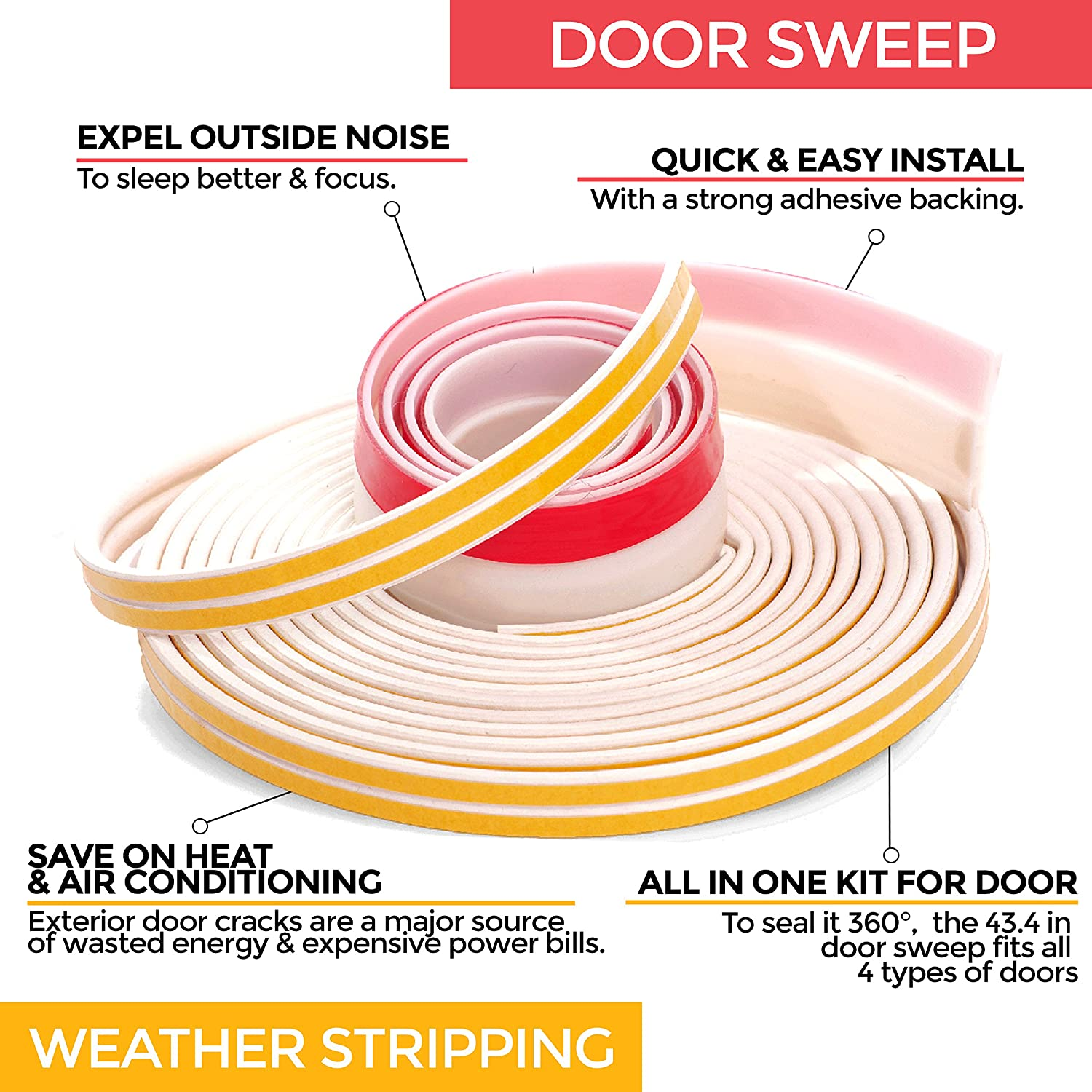 Soundproof Weather Stripping Door Kit White 39 Feet Self
