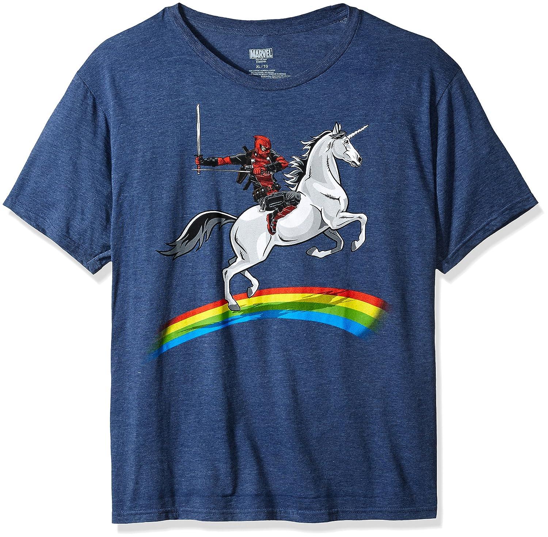 Marvel Mens Deadpool Riding a Unicorn on a Rainbow T-Shirt Mad Engine LLC. MVDP08ZMSC3P1XX