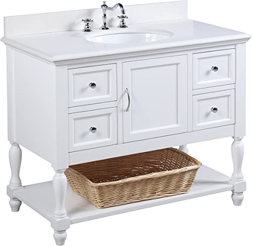 Beverly 42-inch Bathroom Vanity Quartz White Includes Quartz Countertop, White Cabinet with Soft Close Drawers, and White Ceramic Sink