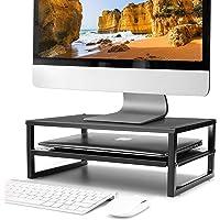 CAXXA 2-Tier Metal Laptop PC Monitor Stand Riser MAX 50 LBS Loading for Monitor, Printer, Keyboard,Black