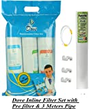 Psi Quick Fit (Push-In) Inline Filter Complete Set With Pre Carbon, Sediment, Post Carbon Filters And Connectors
