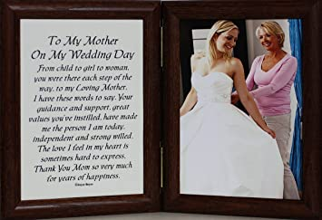 amazoncom 5x7 hinged to my mother on my wedding day poem photo poetry frame for the mother of the bride fruitwood kitchen dining - Mother Of The Bride Picture Frame