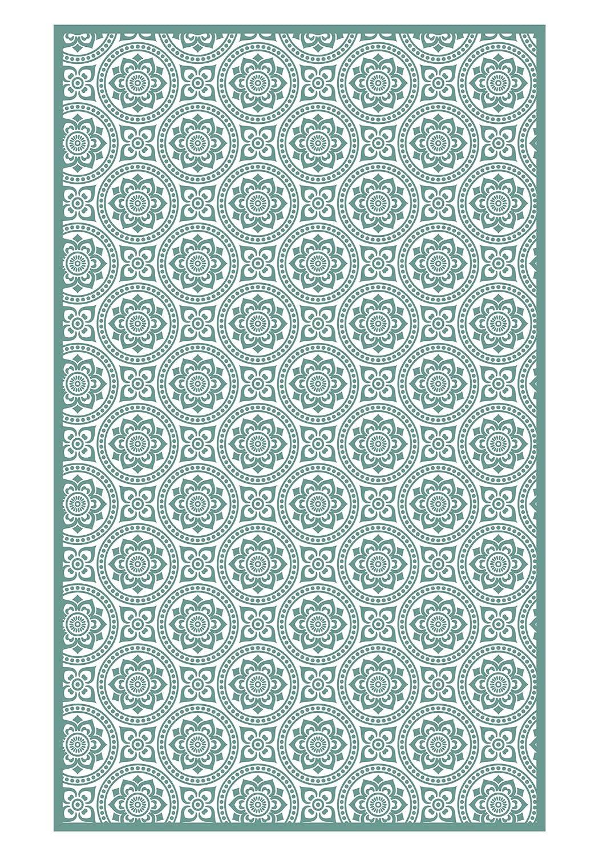 Huella Deco h1015-ca-m Fleurs Teppich Carpet Mat Floor, Vinyl, 83 x 136 cm