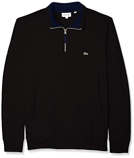 Collar Stand Zippered Men's Ribbed Lacoste Flat Up Sweatshirt wm0vnyN8OP
