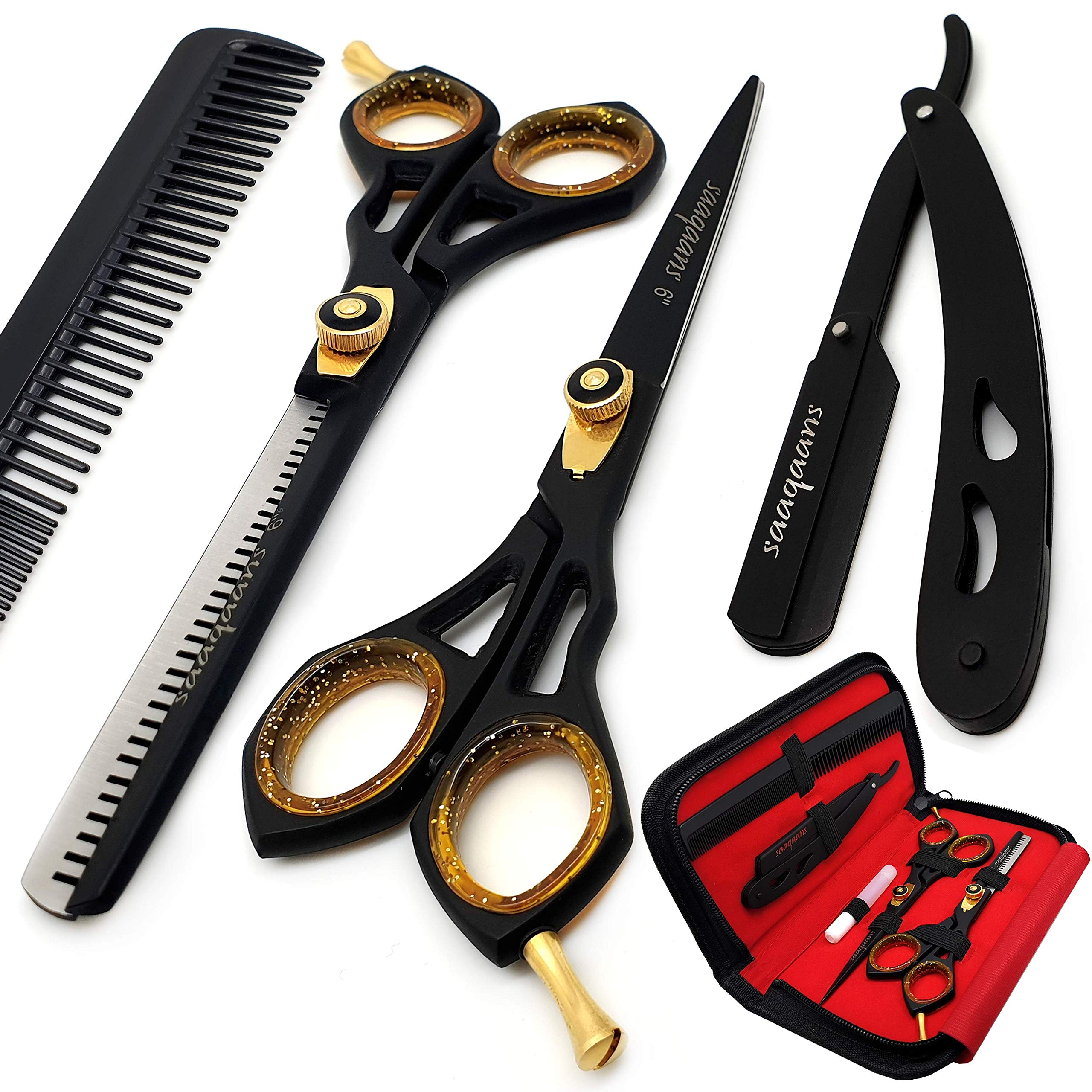 Saaqaans Professional Hair Cutting Scissors Set - Haircut Scissor for Barber/Hairdresser/Hair Salon + Thinning/Texture Hairdressing Shear for Beautician + Straight Edge Razor + 10 Blades with Case by Saaqaans