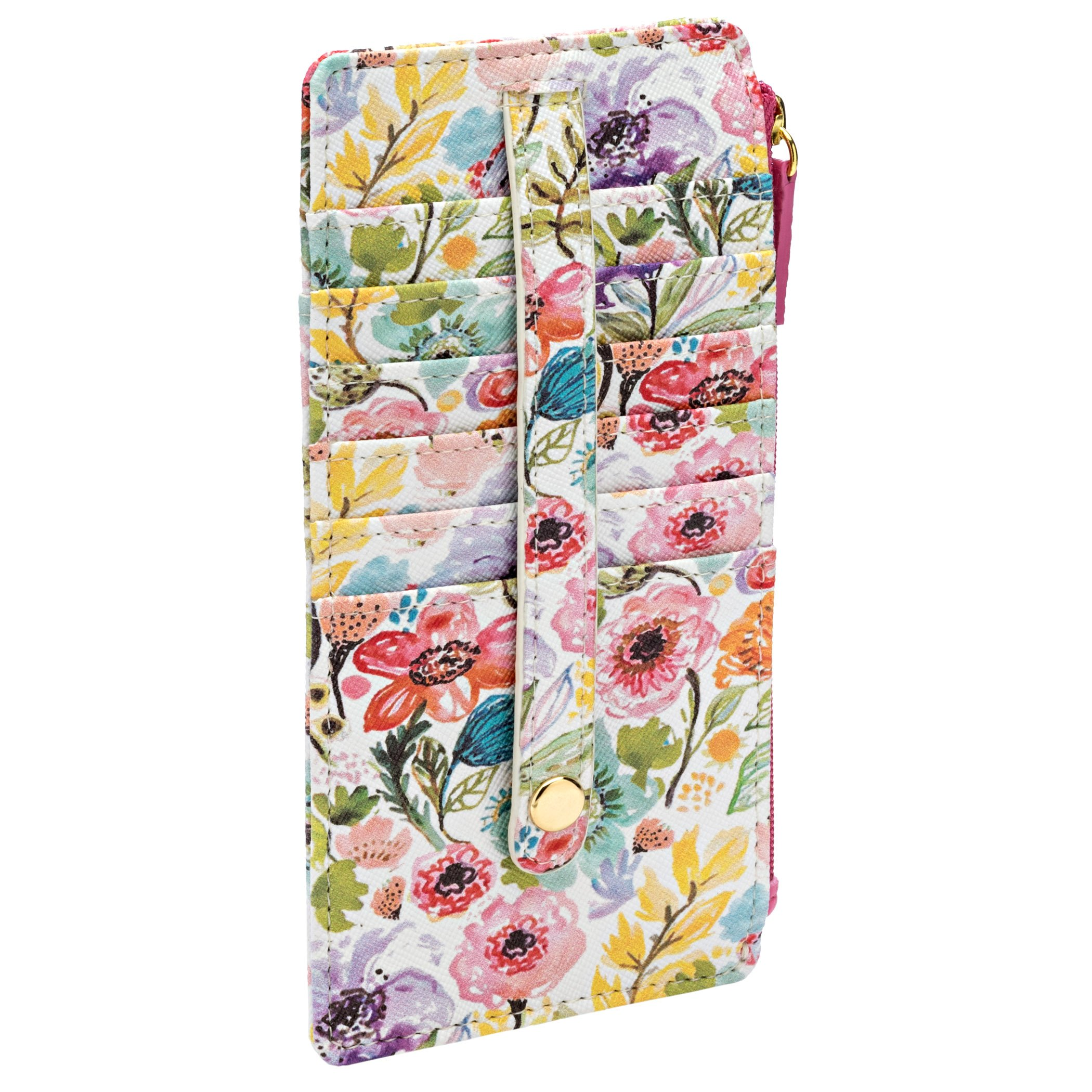 Buxton Womens Leather 3 in 1 Thin Credit Card Case Wallet/Change Purse/Id Holder (Petite Floral)