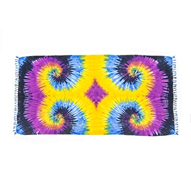 MANUMAR Sarong | Toalla de playa Pareo | Tela ligera púrpura e nero e amarillo en diseño batik | XXL oversize 215x115 cm | Paño Sauna | Baño Hamam | Bali: ...