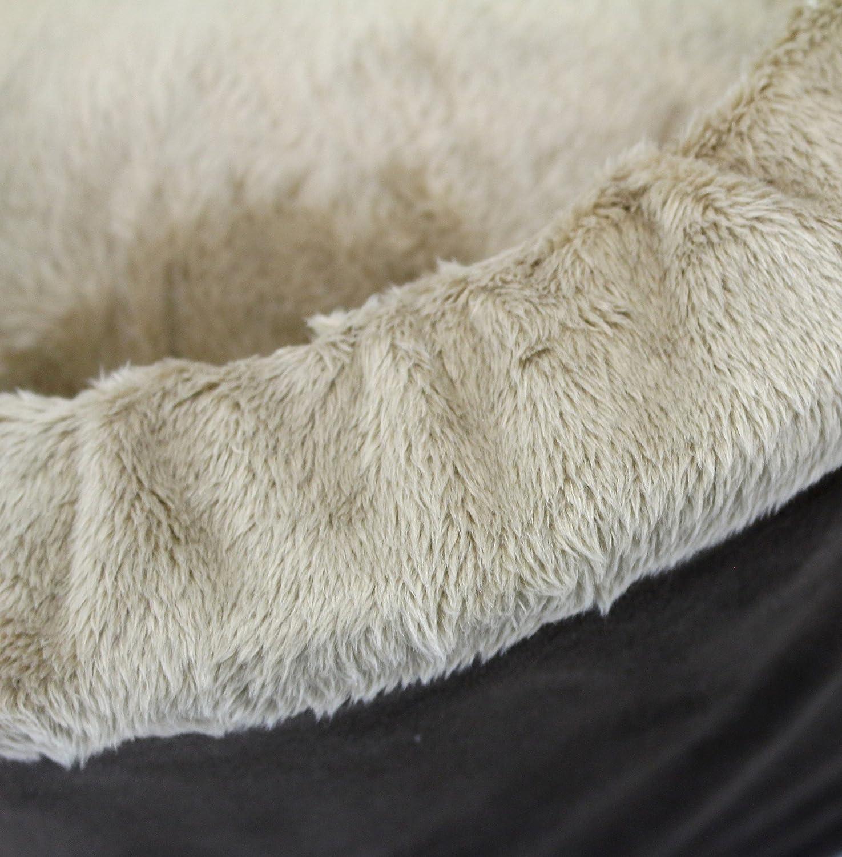 Mocha//Khaki Oliver /& Iris Soft Cozy Round Cat Bed Medium
