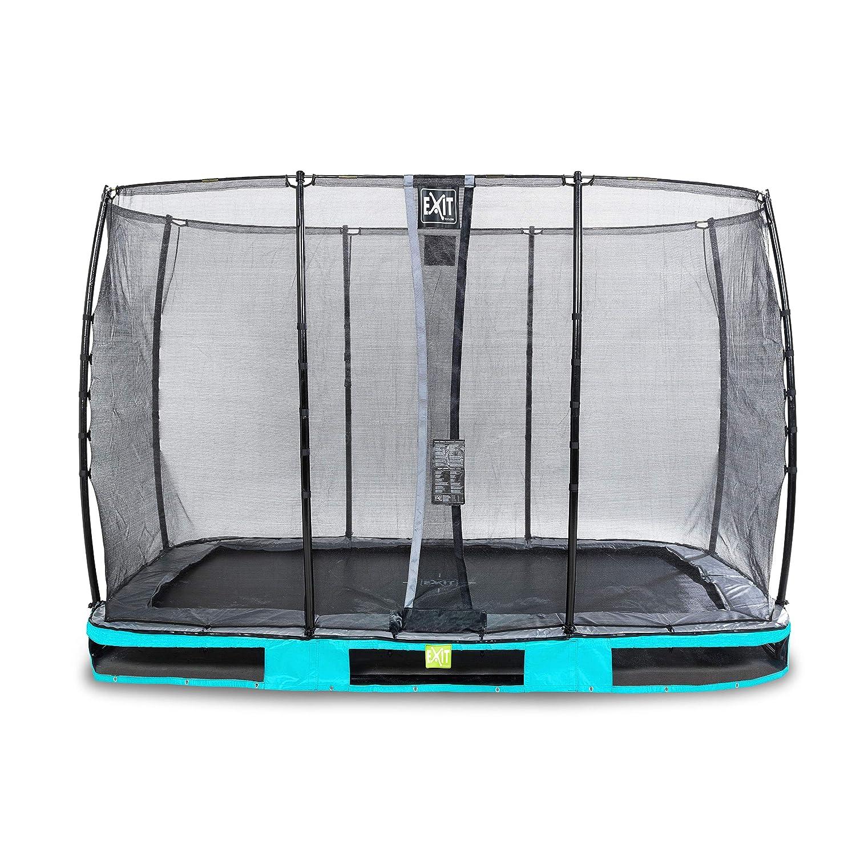 EXIT Elegant InGründ-Trampolin 214x366cm mit Economy Sicherheitsnetz - blau