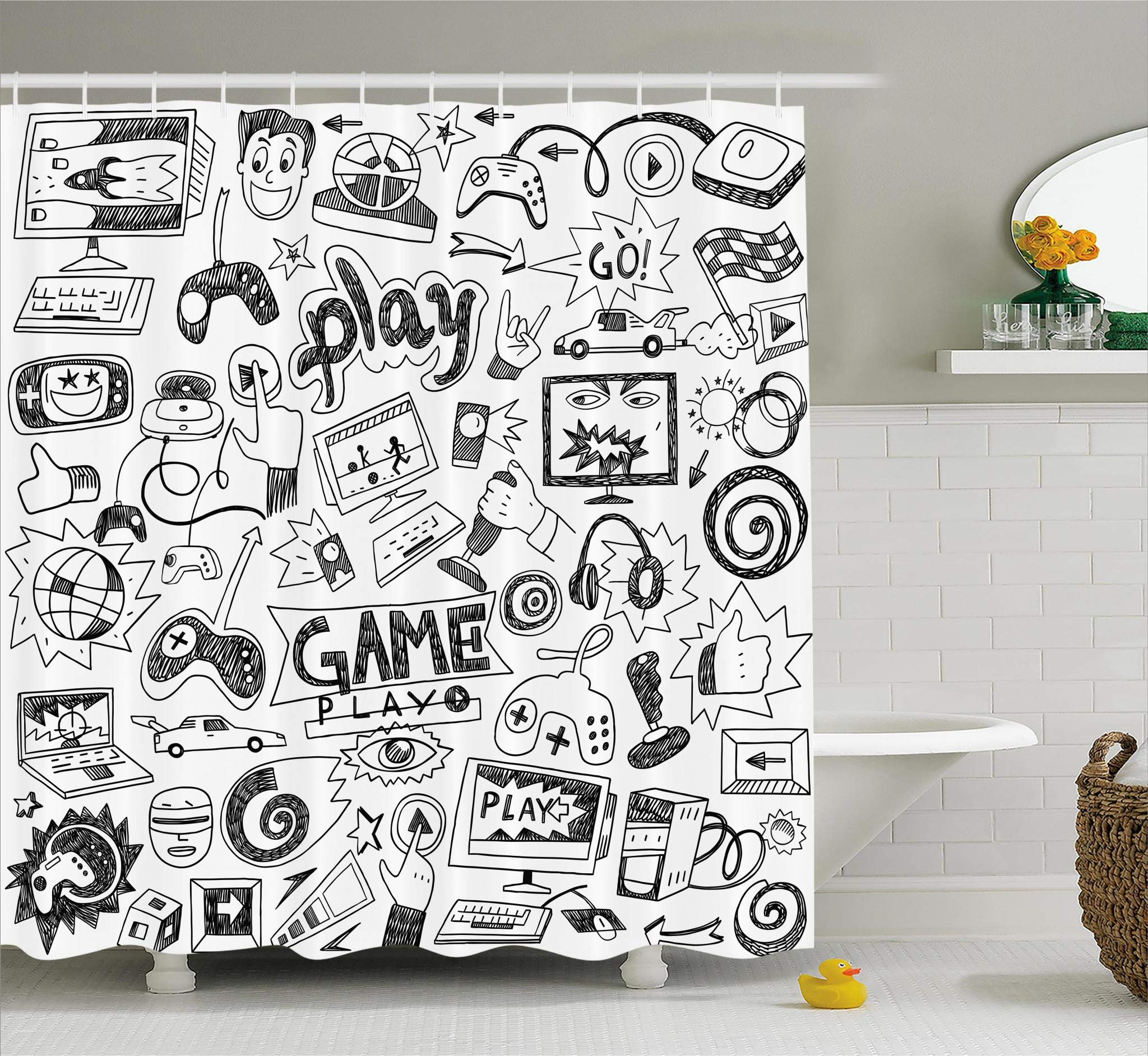 Ambesonne Video Games Shower Curtain Set, Black and White Sketch Style Gaming Design Racing Monitor Device Gadget Teen 90's, Fabric Bathroom Decor with Hooks, 75 Inches Long, Blak White