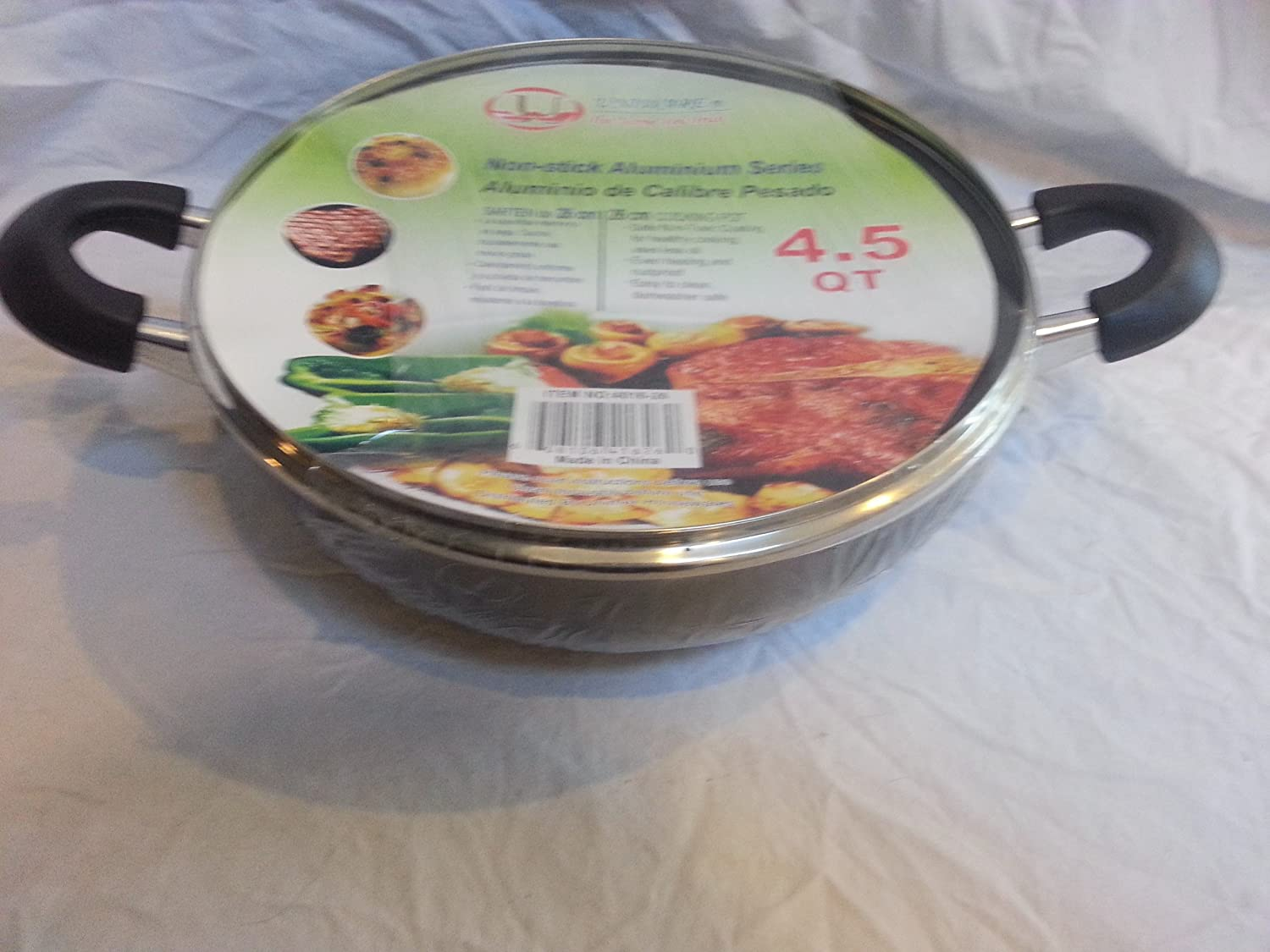 Amazon.com: Non-Stick Aluminium Rounded Cooking Pot / Casserole w/ Glass Cover (4.5): Kitchen & Dining