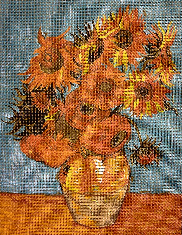 Needlepoint Kit Van Gogh Sunflowers 9x11.8 23x30cm Printed Canvas cod.291