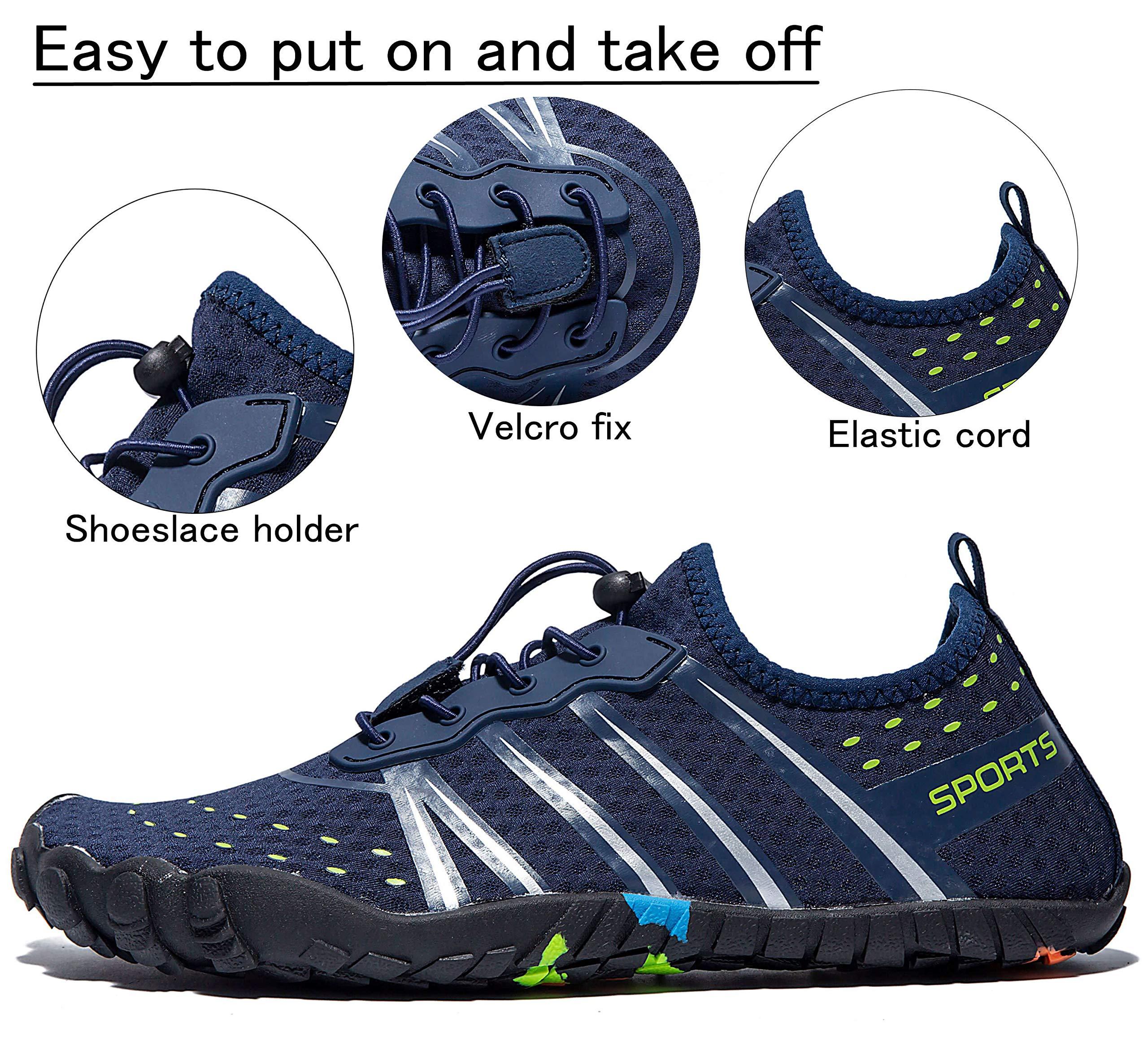 LINGTOM Mens Womens Aqua Water Shoes Quick Dry Barefoot Sports Exercise for Walking Swimming Diving Beach Surf Pool Yoga,Dark Blue 12.5 M US Women / 11 M US Men by LINGTOM (Image #5)