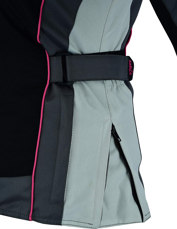 JET Womens Ladies Motorcycle Motorbike Jacket Waterproof Armoured ROCHELLE 20 4XL , Grey//Pink
