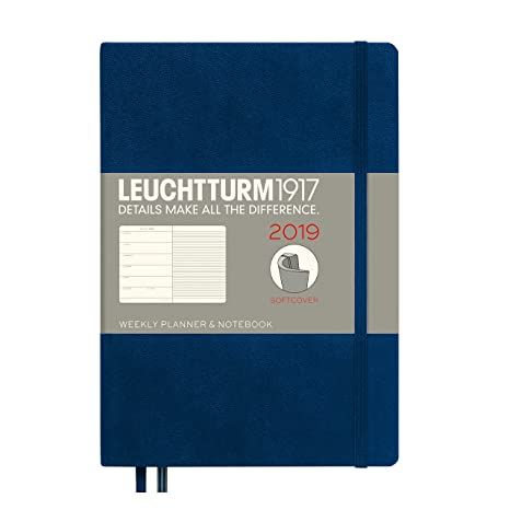 Leuchtturm1917 357828 Weekly Planner & Notebook 2019 Softcover, Medium (A5), English, Navy