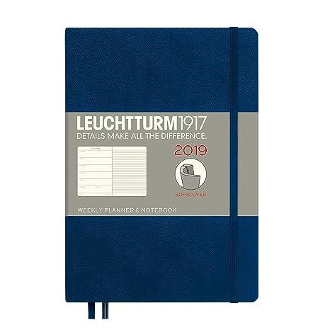 Leuchtturm1917 357828 Weekly Planner & Notebook 2019 Softcover, Medium (A5), English, Navy