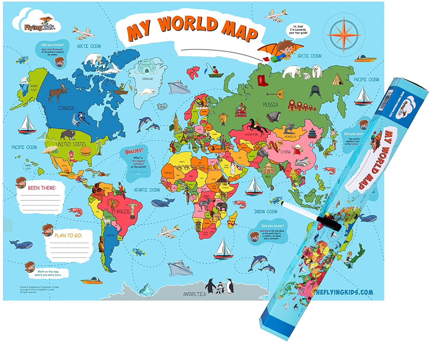 Map Of The World For Kids Amazon.com: FlyingKids World Map Poster for Kids. Educational