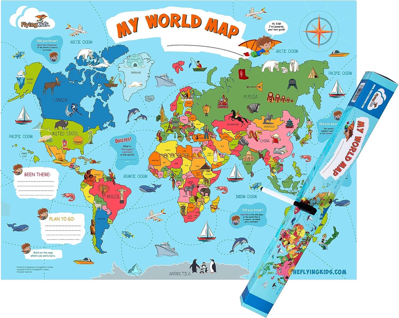 World Map For Kids Amazon.com: FlyingKids World Map Poster for Kids. Educational