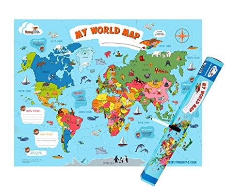 FlyingKids World Map Poster for Kids. Educational, Interactive, Personalized, on minnesota dnr lake maps, games maps, 2d maps, united kingdom maps, topographic maps, classic maps, schiphol airport parking maps, asia maps, all maps, motion maps, presentation maps, world of warships maps, virtual maps, fun maps, educational maps, google maps, dot right of way maps, vermont town boundary maps,