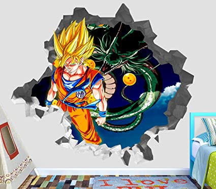 Dragon ball z goku shenlong wall decal smashed 3d sticker vinyl decor mural kids broken