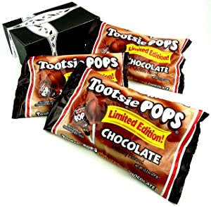 Tootsie Limited Edition Chocolate Pops, 13.2 oz Bags in a BlackTie Box (Pack of 3)