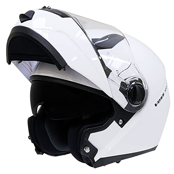 Amazon.com: Voss 555 G2 Modular Helmet with Integrated Sun Lens and quick release for men and women motorcycle DOT - XXL - Gloss White: Automotive