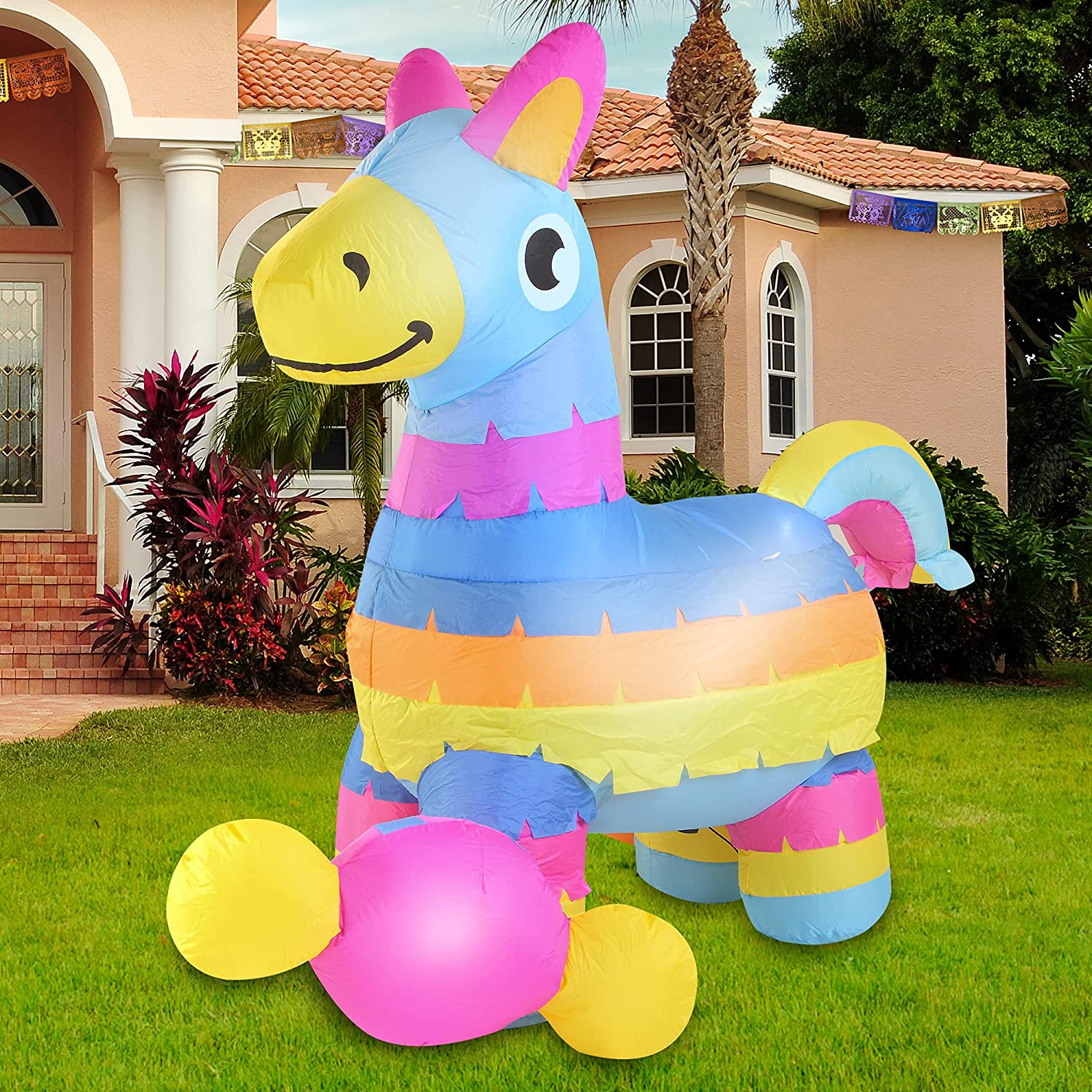Joiedomi Cinco De Mayo Inflatable Decorations 6 FT Fiesta Pinata with Build-in LEDs Blow Up Inflatables for Cinco De Mayo Holiday Party Indoor, Outdoor, Yard, Garden, Lawn Spring Decor