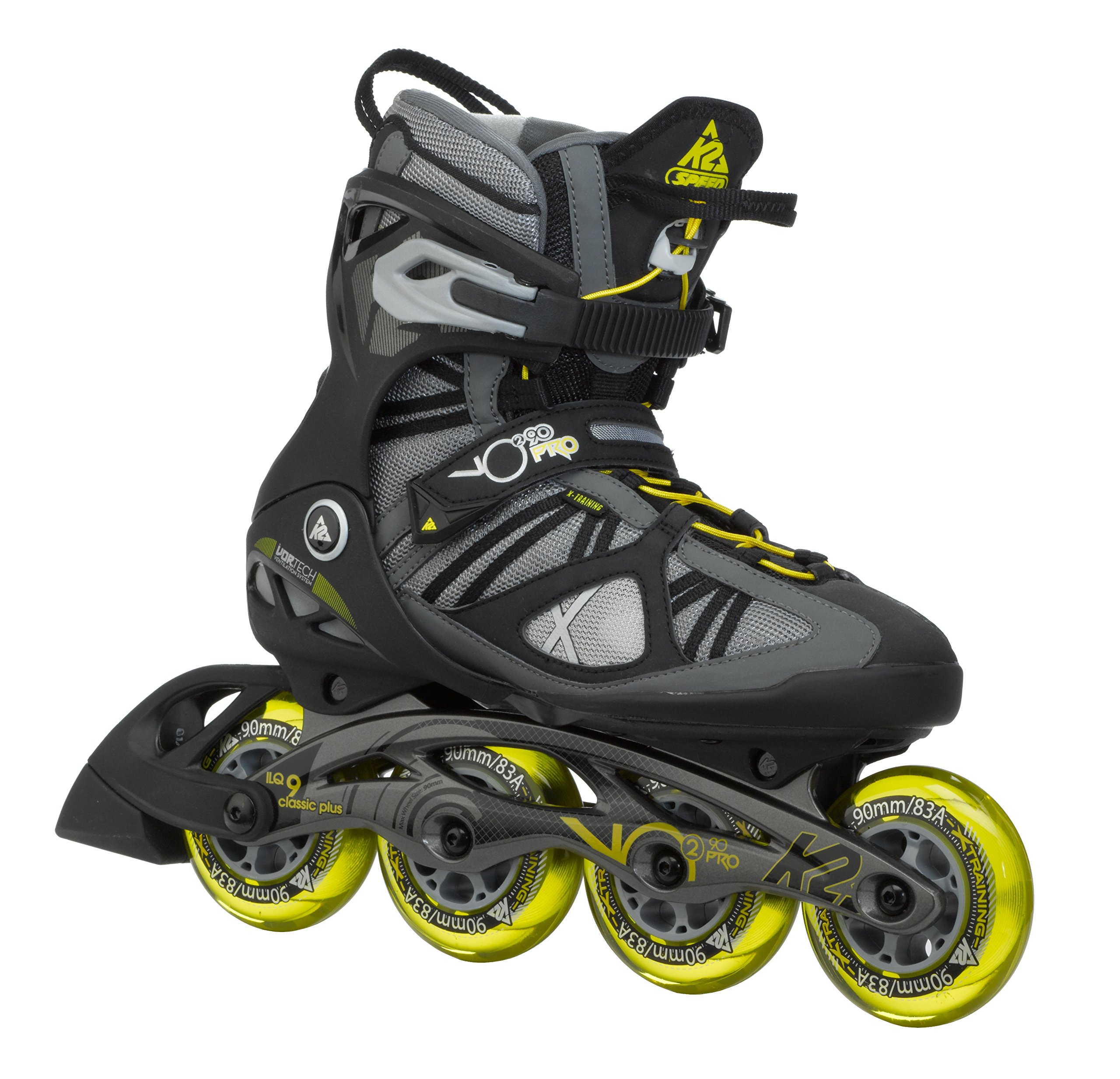 K2 Skate Men's VO2 90 Pro Inline Skates, Gunmetal/Yellow, 7 by K2 Skate