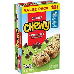 Quaker Chewy Granola Bar, Chocolate Chip, .84oz 18ct,15.1oz