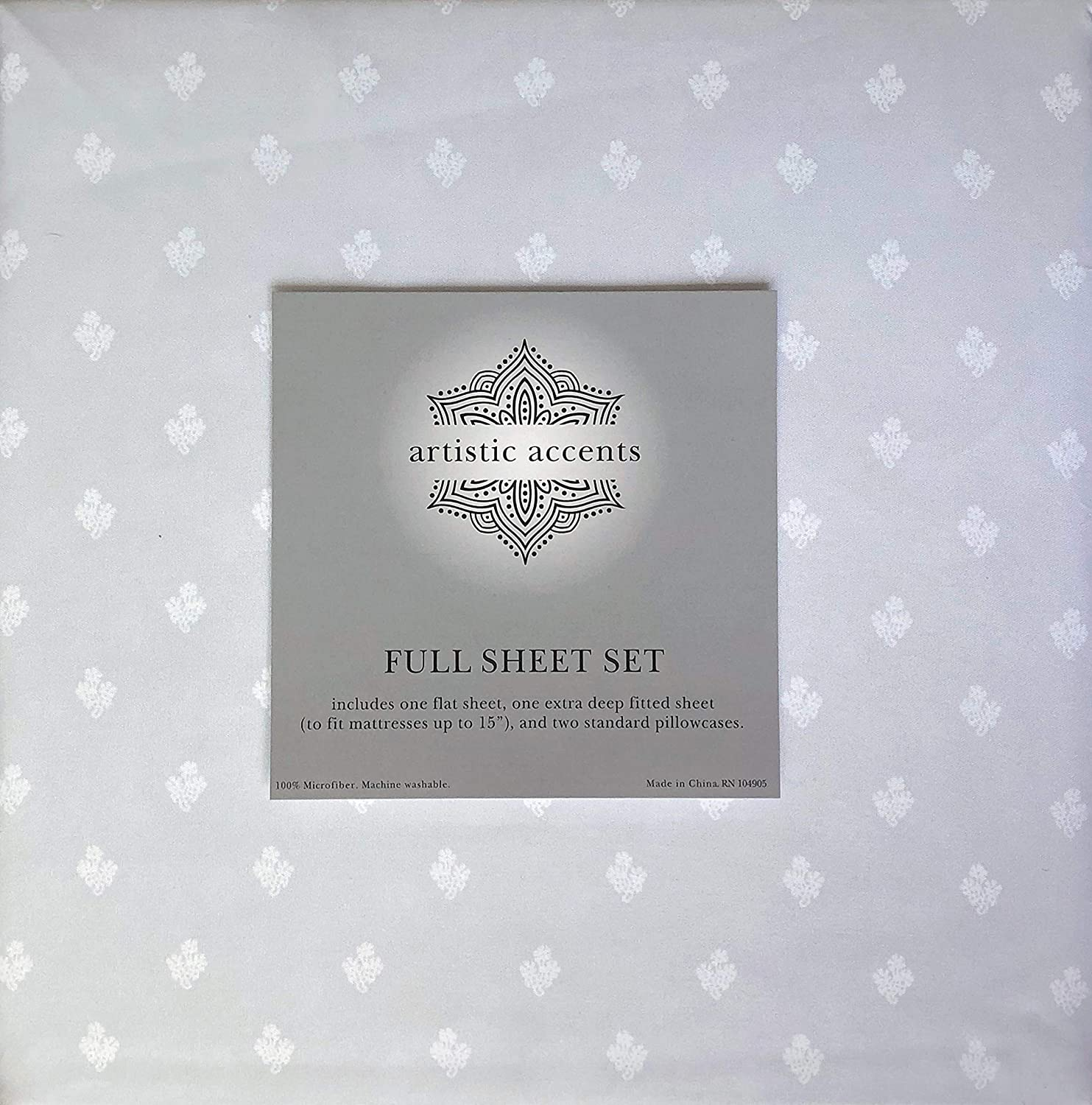 Artistic Accents 4 Piece Full Size Sheet Set Small White Floral Floating Medallions on Light Gray New Block Flower Chrome