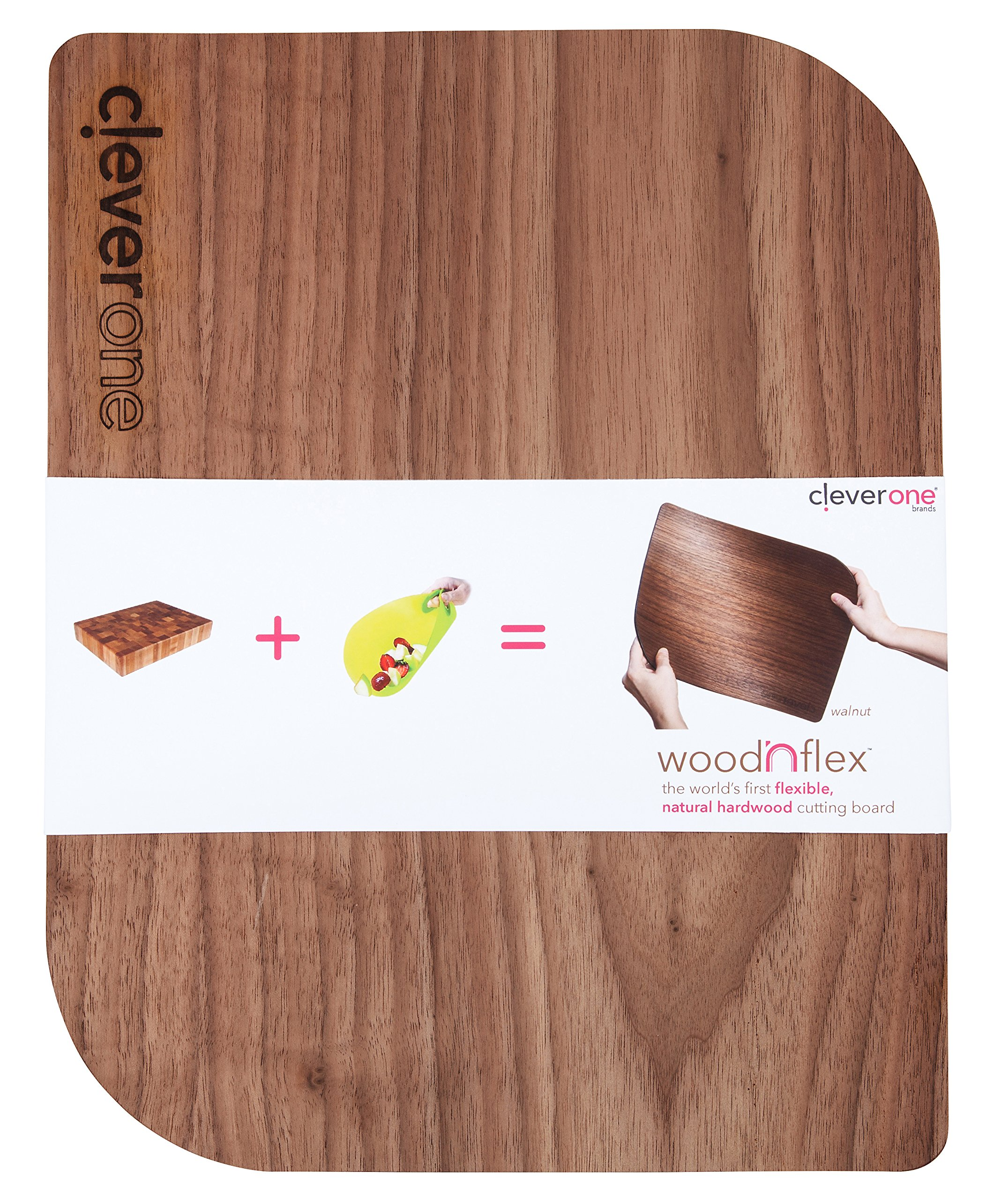 woodNflex Flexible Natural Wood Cutting Board for Kitchen, USA Handmade of Oak and Walnut, Not Dishwasher Safe, Non-Slip Silicone Back (Walnut, 14x11)