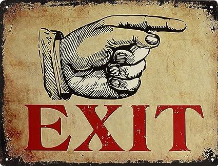 Cartel de Chapa de decoración Inteligente Exit Salida Cartel ...