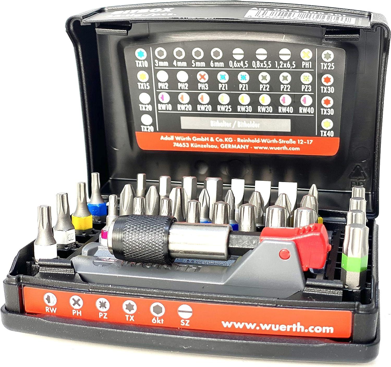 Würth 0614400301 - Juego de puntas de destornillador (33 piezas, soporte magnético para puntas de destornillador)