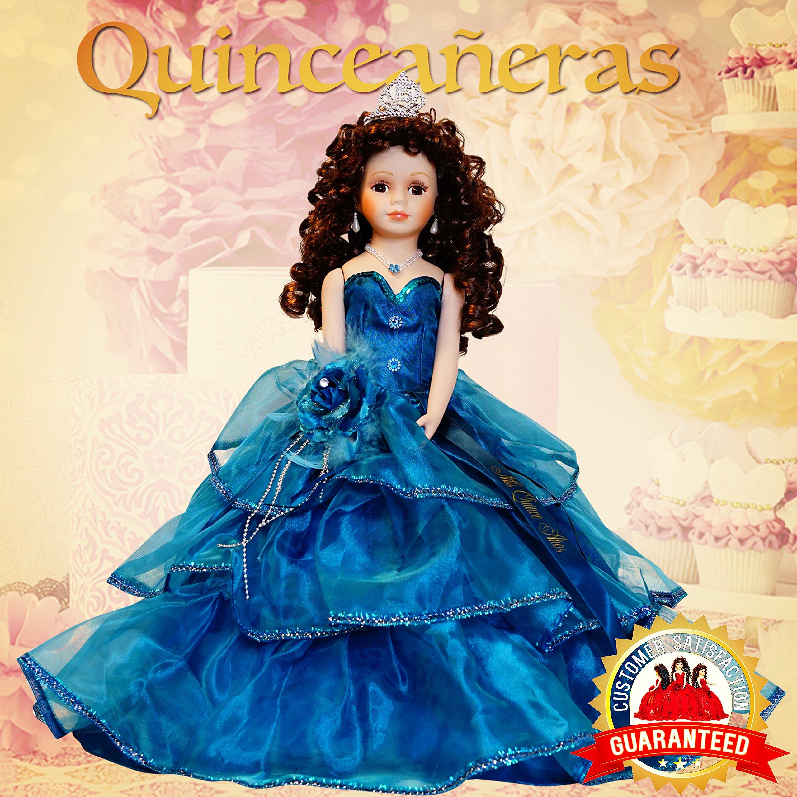 18'' Porcelain Quinceanera Umbrella Doll (Table Centerpiece)~ Teal ~ KB18724-19B