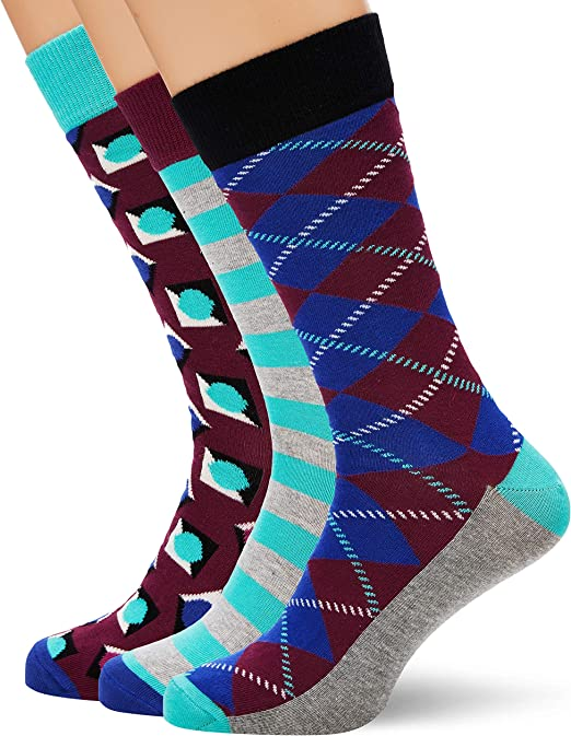 HS by Happy Socks HS Argyle 3-Pack Socks, Calcetines para Hombre ...