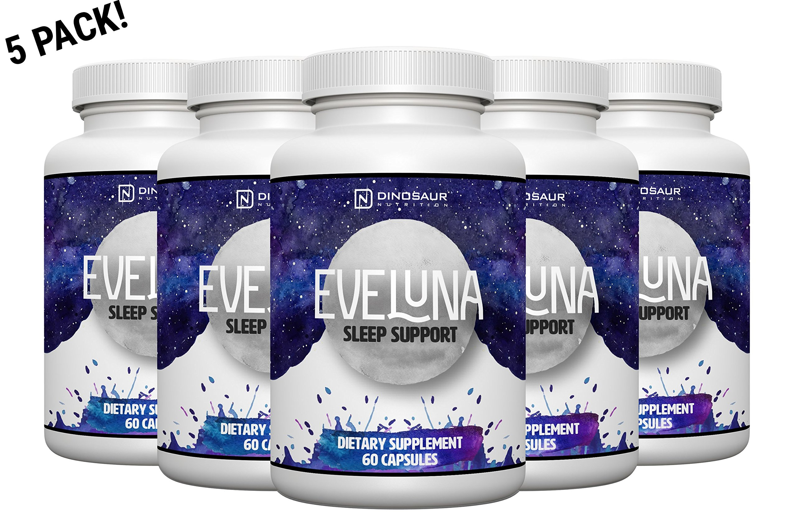 Eveluna - Natural Sleep Aid Supplement with Melatonin, Valerian, Tryptophan, 5-HTP and More - Non-Habit Forming Sleeping Pill Support - Wake Rested And Refreshed - 60 Veggie Capsules (5) by Dinosaur Nutrition (Image #1)