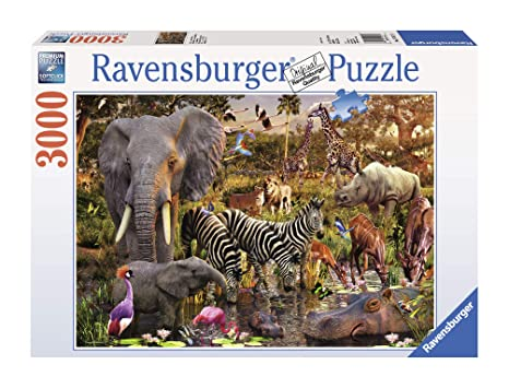 da05fd357bd Ravensburger African Animals 3000 Piece Jigsaw Puzzle for Adults -  Softclick Technology Means Pieces Fit Together