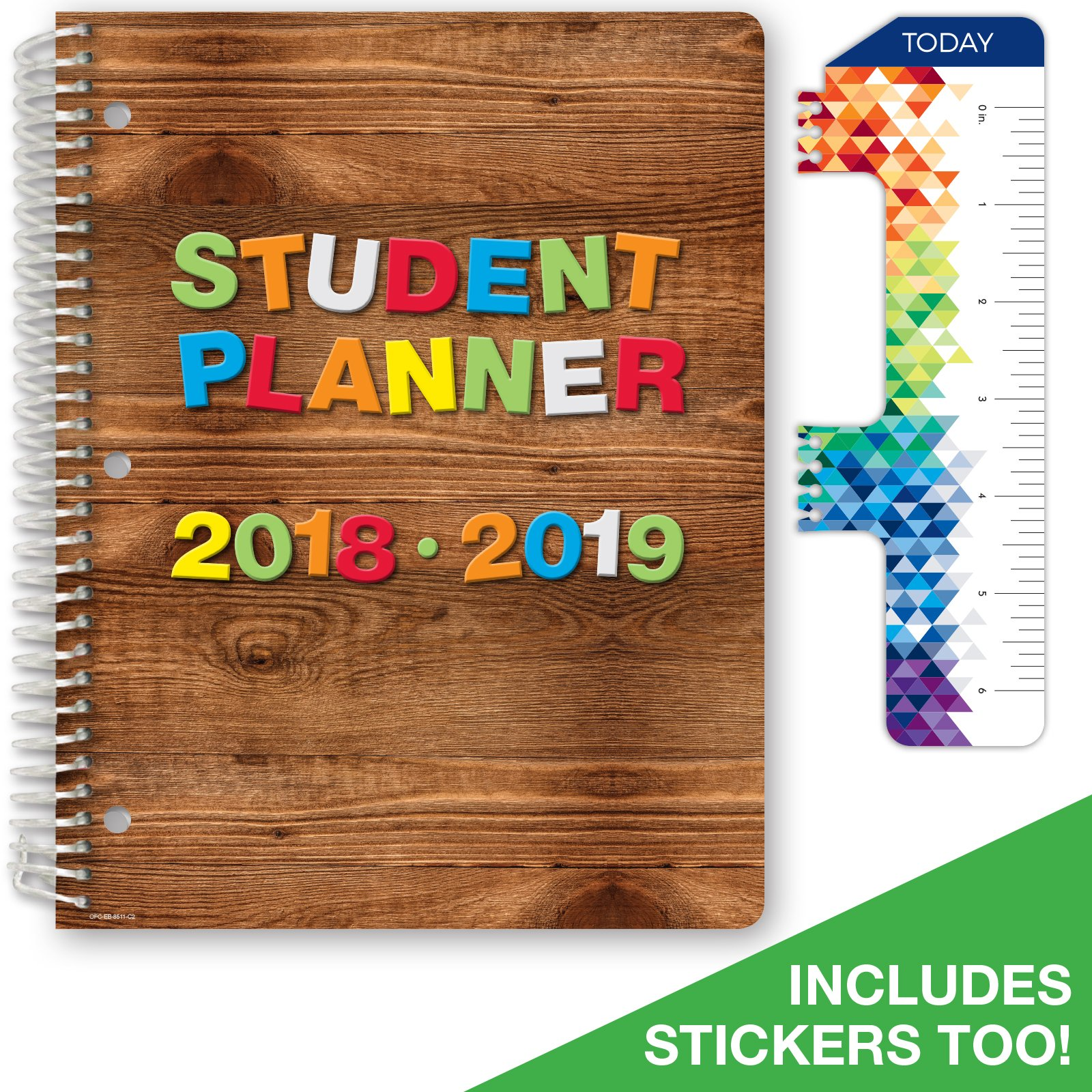 Dated Elementary Student Planner for Academic Year 2018-2019 (Block Style - 8.5''x11'' - Wood Letters Cover) - Bonus Ruler/Bookmark and Planning Stickers
