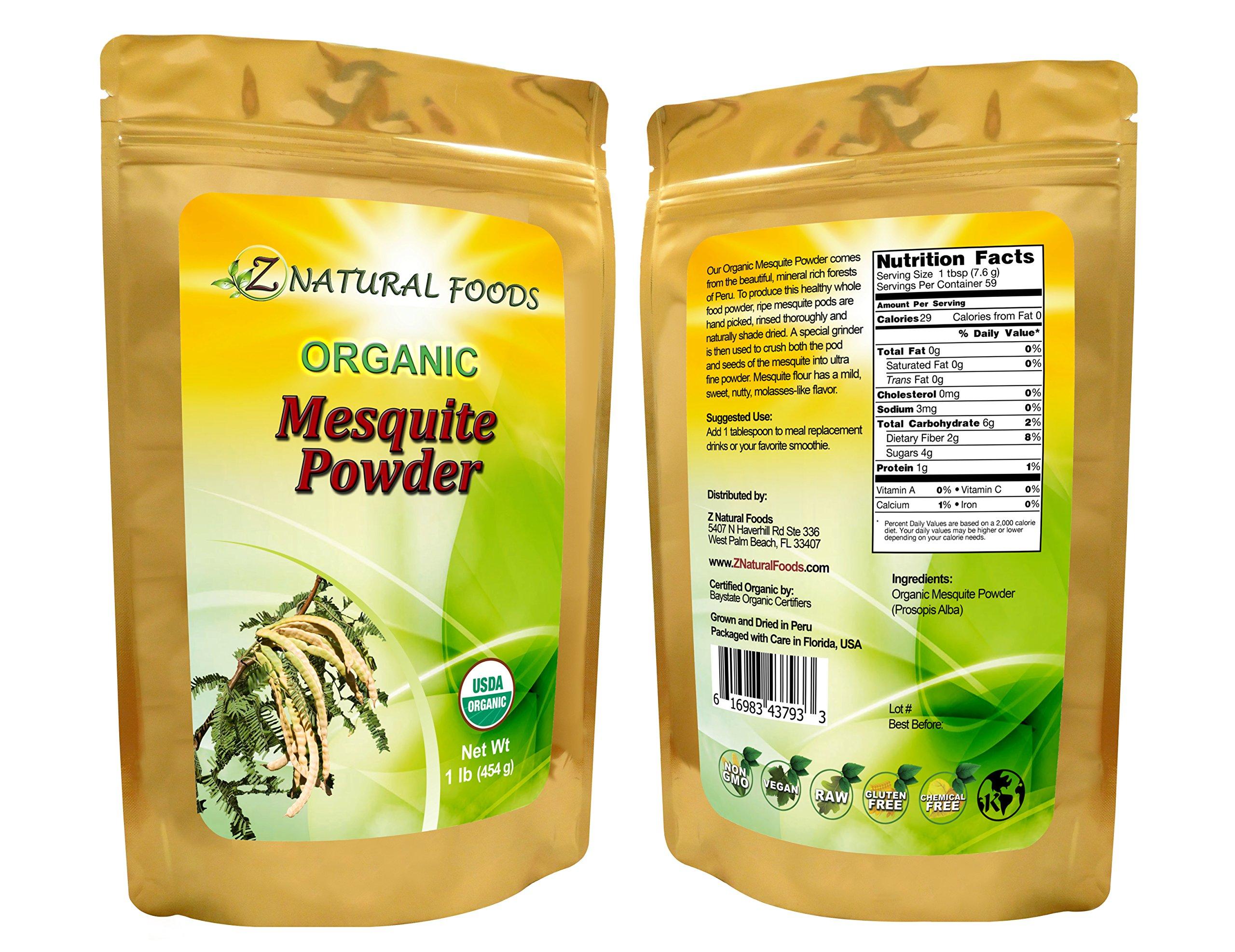 USDA Certified Organic Mesquite Powder (Flour) - All-natural, Fresh, Raw, Vegan, Non-GMO, Chemical-free (1 lb)