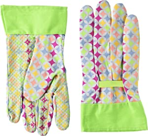 MidWest 510H8GR-L-AZ-6 Ladies Canvas Gloves, Mulitcolor Print With green Cuff