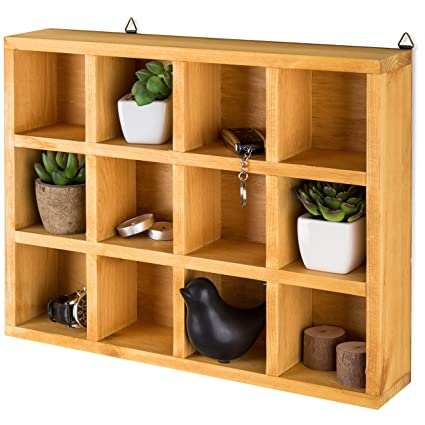 mygift wooden freestandingwall mounted 12 compartment shadow boxdisplay shelf shelving unit - Wall Sized Bookshelves