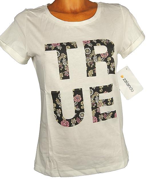 MINT & BERRY - Camiseta - para Mujer Blanco Blanco Extra-Large