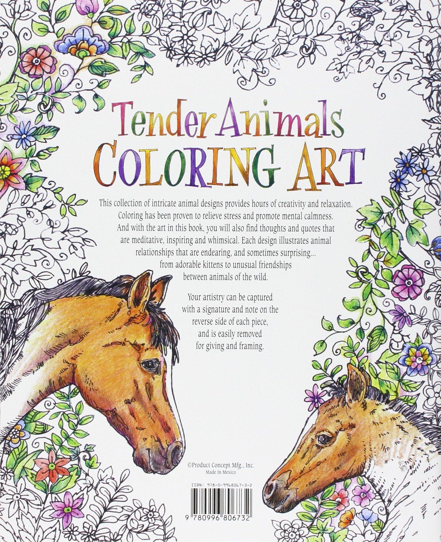 Amazon Tender Animals Coloring Art 9780996806732 Inc Product Concept Mfg Books
