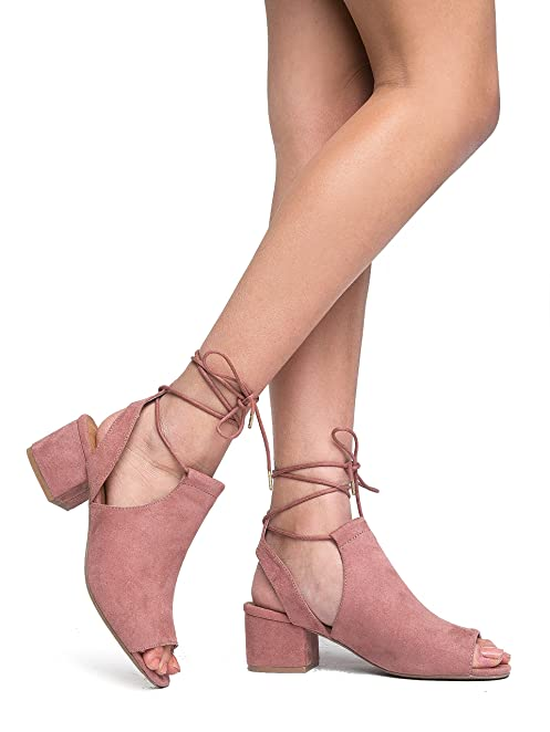 Amazon.com | J. Adams Peep Toe Sandal Bootie - Lace Up Mule - Open ...