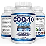 COQ10 Ubiquinone Coenzyme Q10 – 200mg Maximum Strength Nutritional Supplement – High Absorption Capsules with No Soy – BioScience Nutrition USA