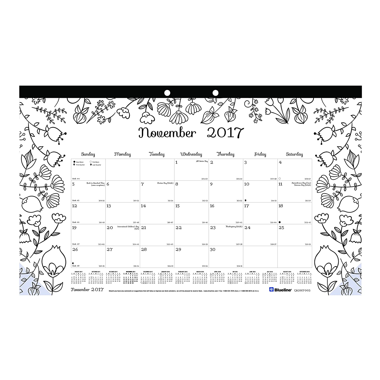 blueline 2018 2019 doodleplan academic coloring desk pad calendar garden designs august 2018 to july 2019