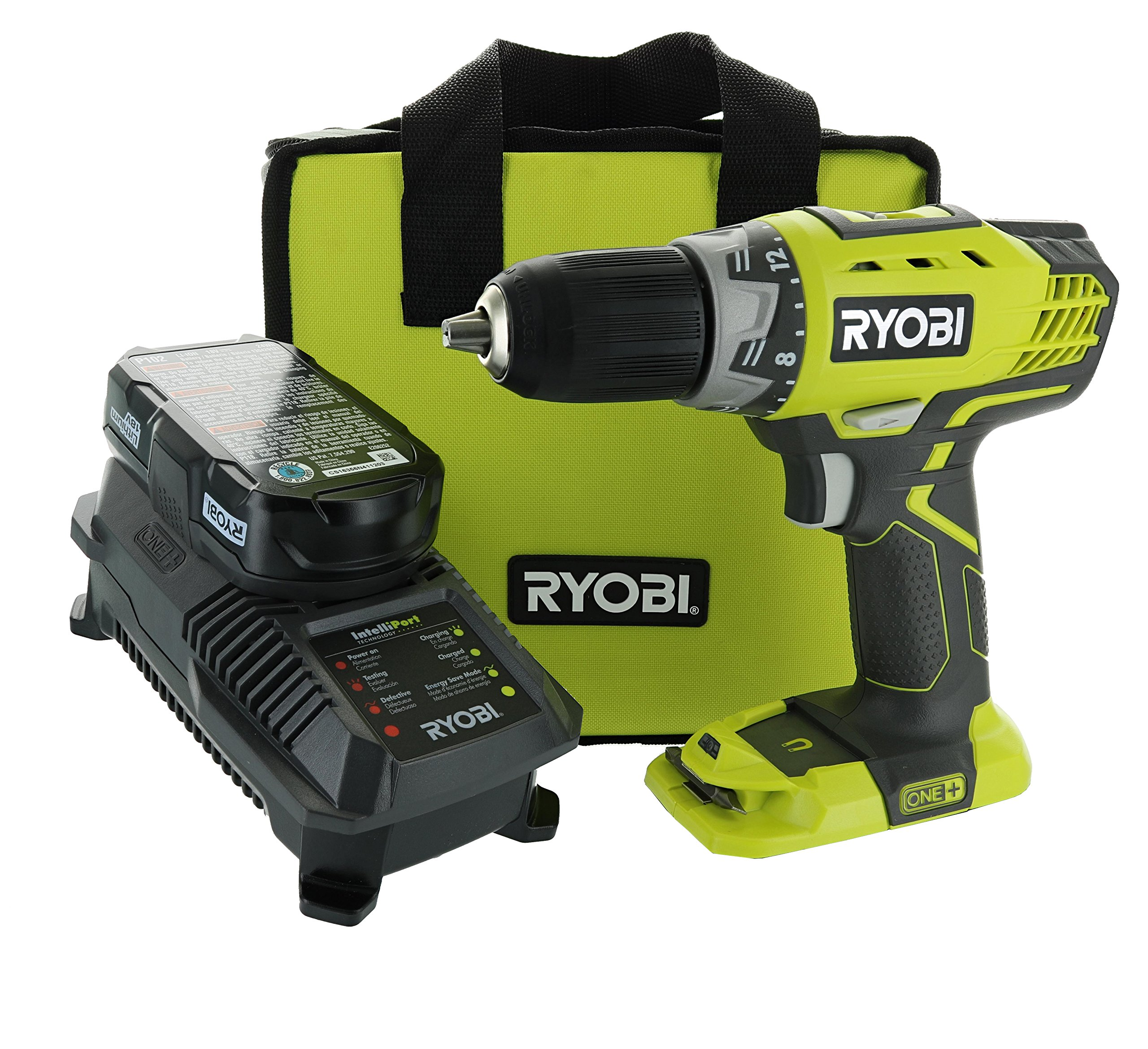 Ryobi P1811 One+ Compact Drill / Driver Kit (5 Piece Bundle: 1x P208 Drill / Driver Power Tool, 2x P102 18 Volt Battery, 1x P118 18 Volt Battery Charger, 1x Lime Green Ryobi Tool Bag)